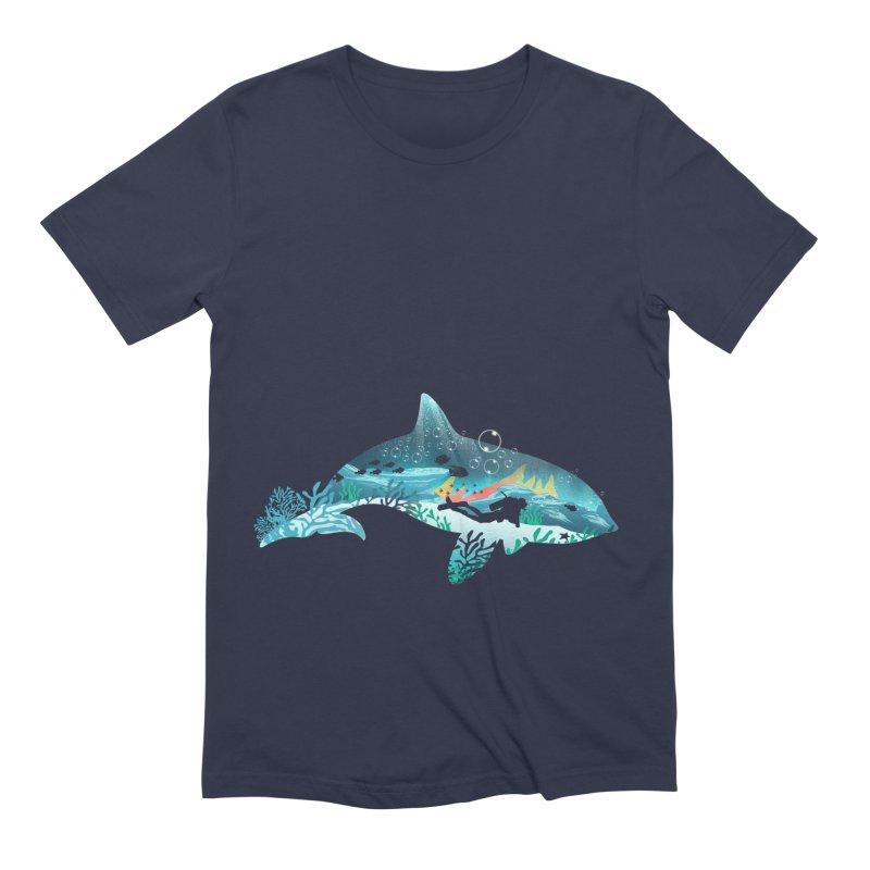 Dolphin Diver Men's Extra Soft T-Shirt by dandingeroz's Artist Shop