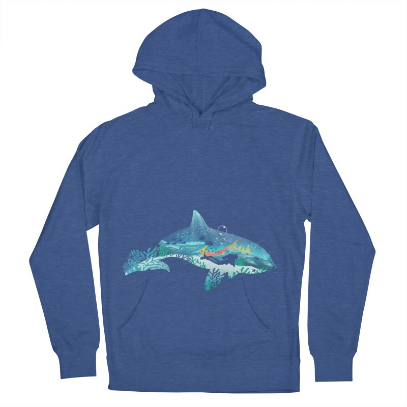 Dolphin Diver Men's French Terry Pullover Hoody by dandingeroz's Artist Shop