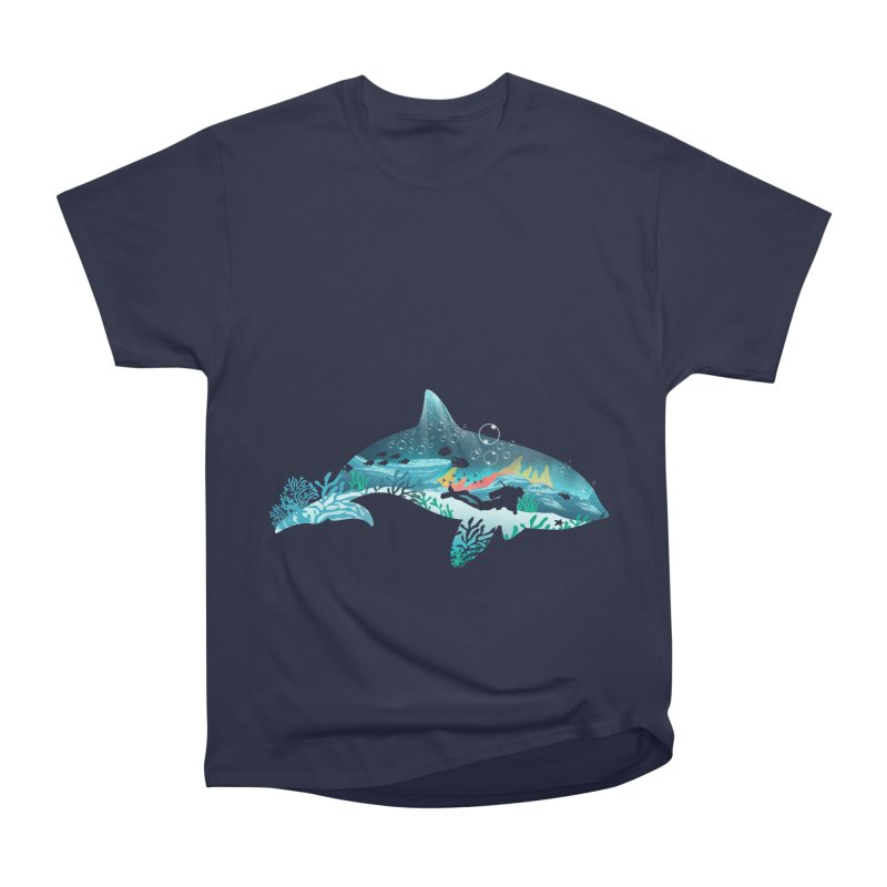 Dolphin Diver Women's Heavyweight Unisex T-Shirt by dandingeroz's Artist Shop