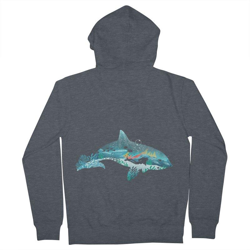 Dolphin Diver Men's French Terry Zip-Up Hoody by dandingeroz's Artist Shop