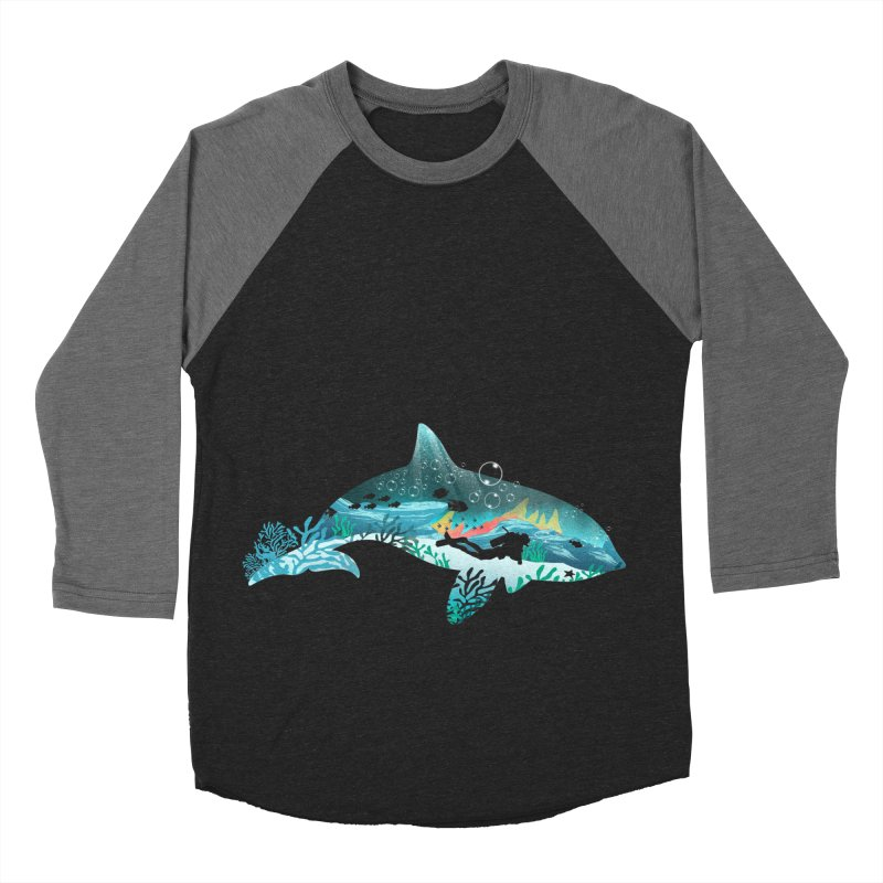 Dolphin Diver Women's Baseball Triblend Longsleeve T-Shirt by dandingeroz's Artist Shop