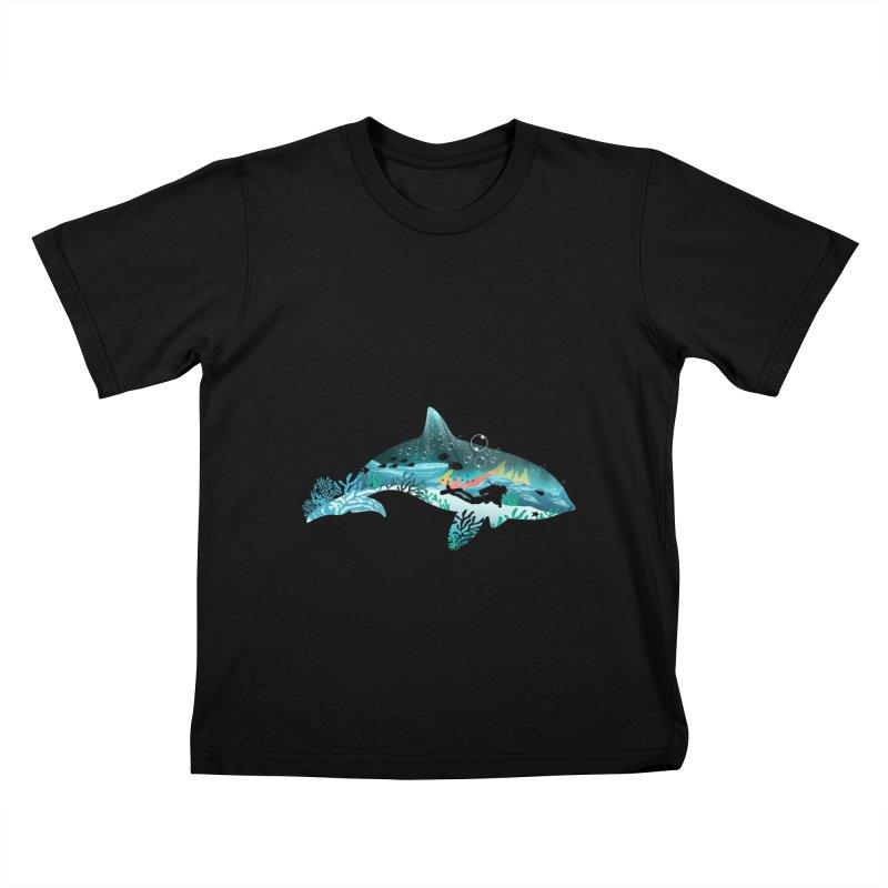 Dolphin Diver Kids T-Shirt by dandingeroz's Artist Shop