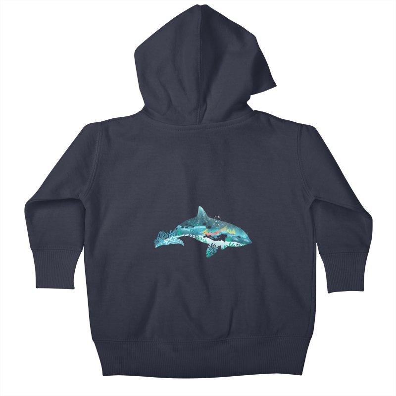 Dolphin Diver Kids Baby Zip-Up Hoody by dandingeroz's Artist Shop