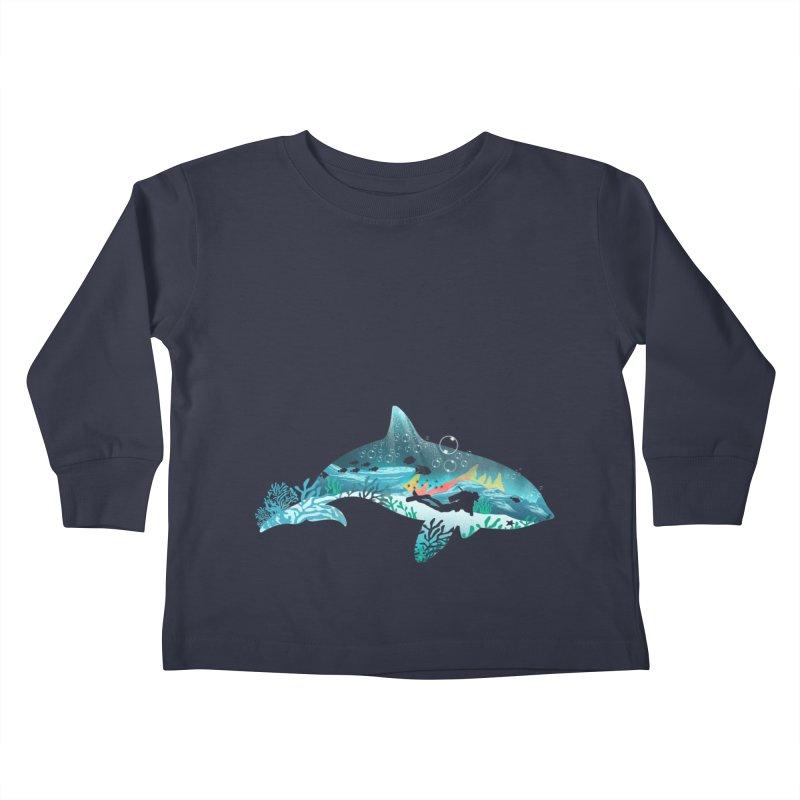 Dolphin Diver Kids Toddler Longsleeve T-Shirt by dandingeroz's Artist Shop