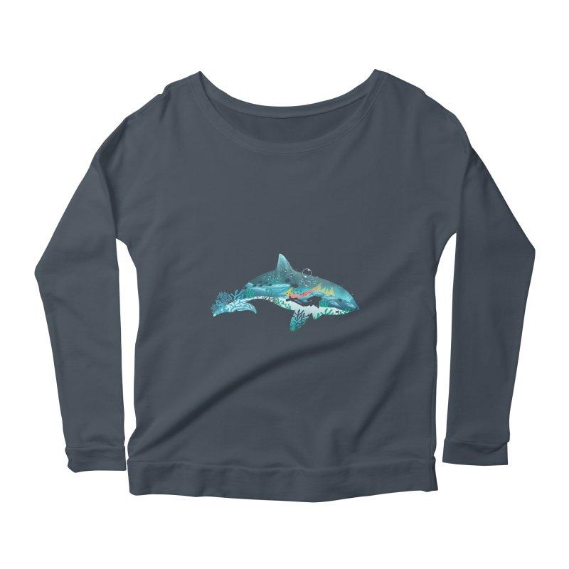 Dolphin Diver Women's Scoop Neck Longsleeve T-Shirt by dandingeroz's Artist Shop