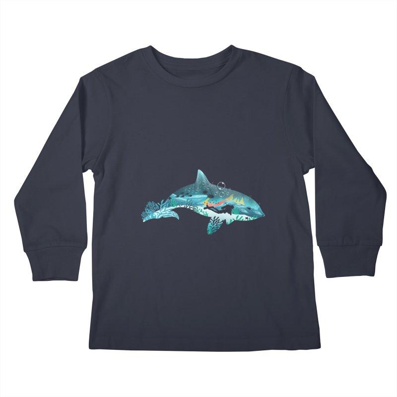 Dolphin Diver Kids Longsleeve T-Shirt by dandingeroz's Artist Shop