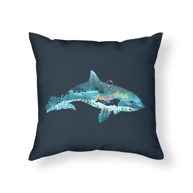 Dolphin Diver Home Throw Pillow by dandingeroz's Artist Shop
