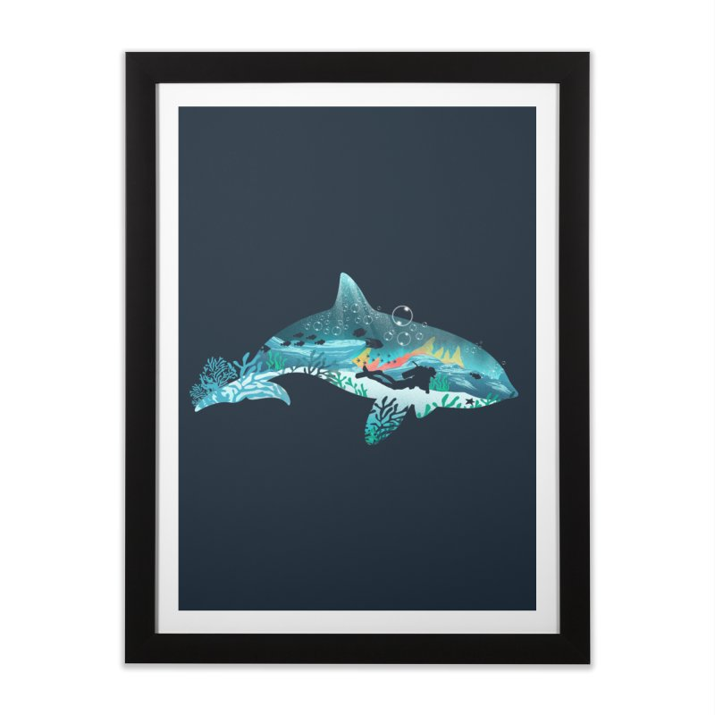 Dolphin Diver Home Framed Fine Art Print by dandingeroz's Artist Shop