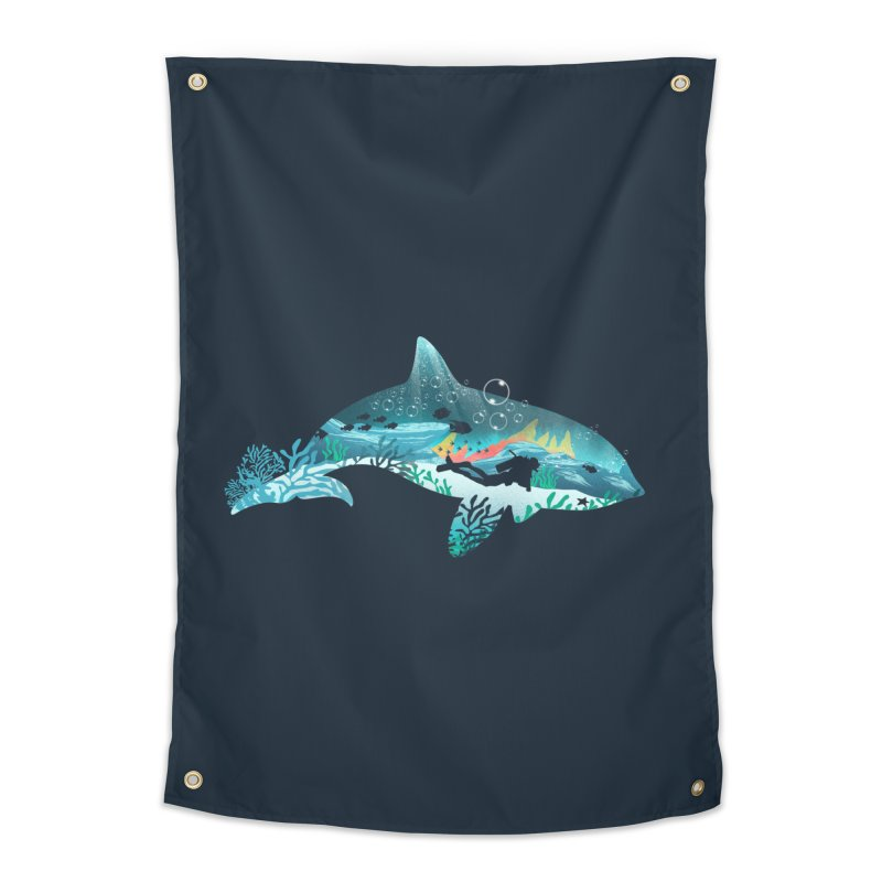 Dolphin Diver Home Tapestry by dandingeroz's Artist Shop