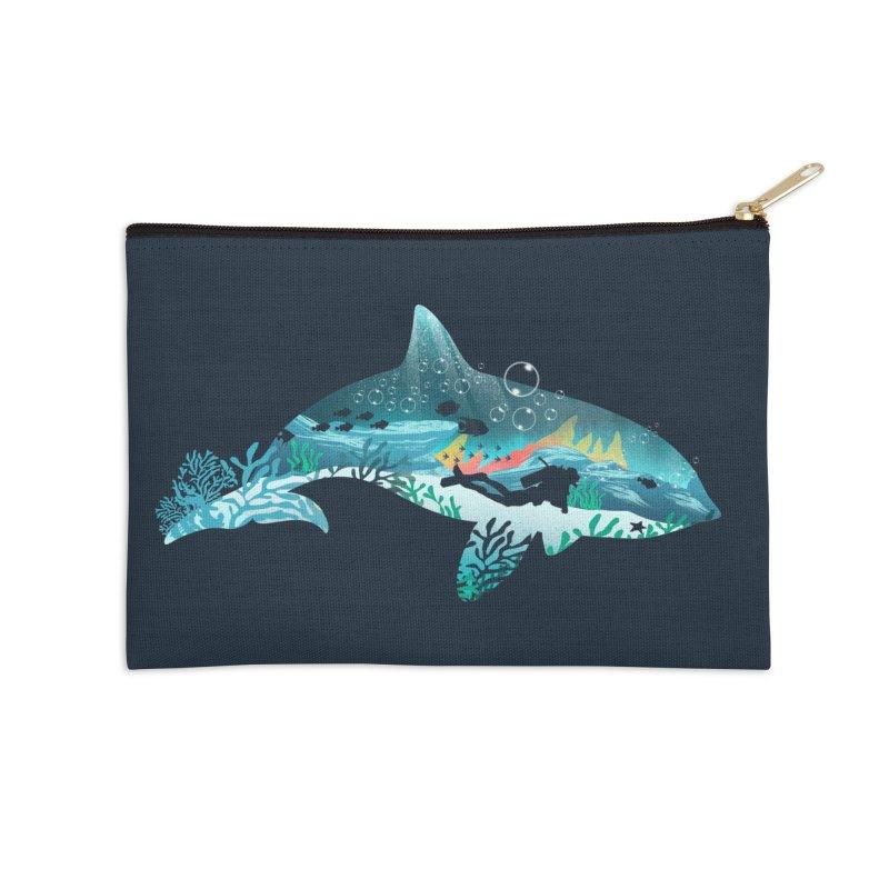 Dolphin Diver Accessories Zip Pouch by dandingeroz's Artist Shop