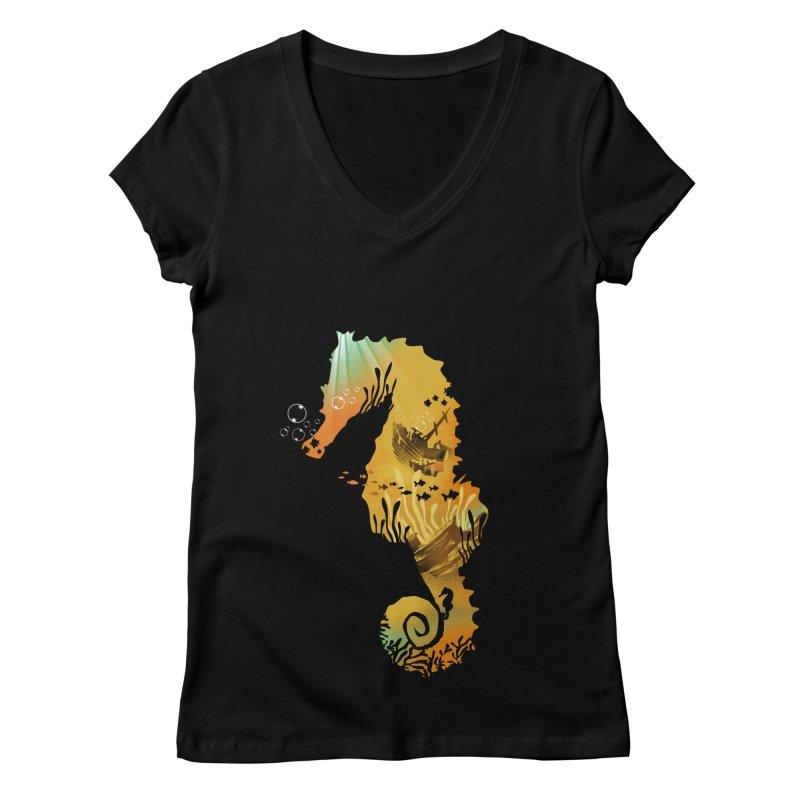 Golden Treasure Women's V-Neck by dandingeroz's Artist Shop