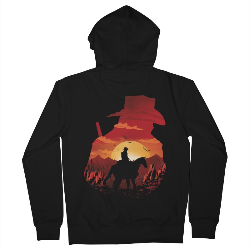Red Sunset Men's French Terry Zip-Up Hoody by dandingeroz's Artist Shop