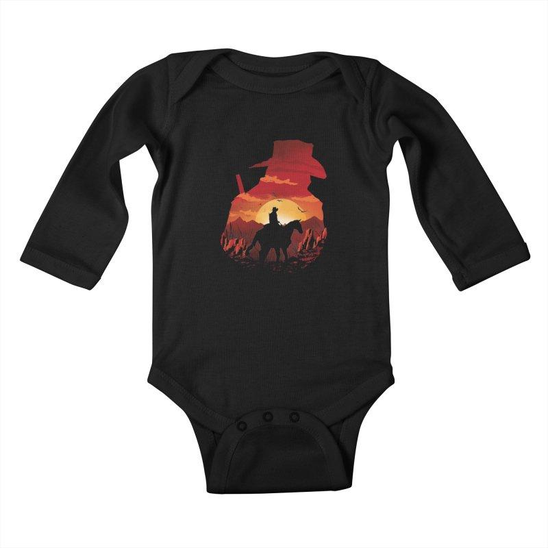 Red Sunset Kids Baby Longsleeve Bodysuit by dandingeroz's Artist Shop