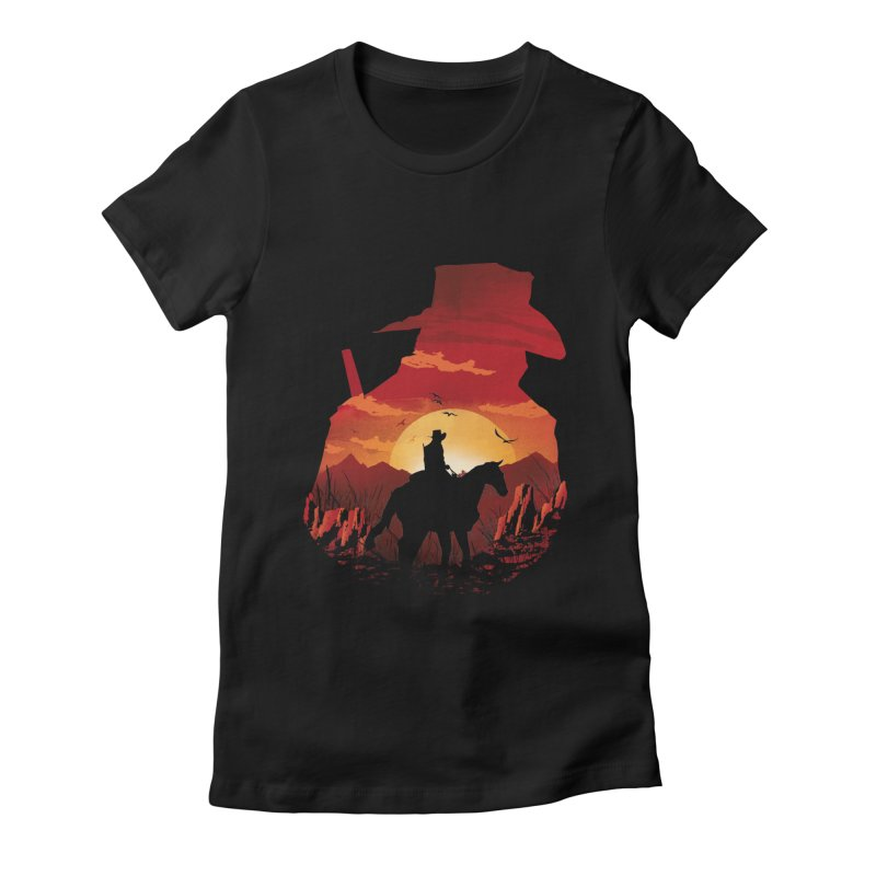 Red Sunset Women's Fitted T-Shirt by dandingeroz's Artist Shop