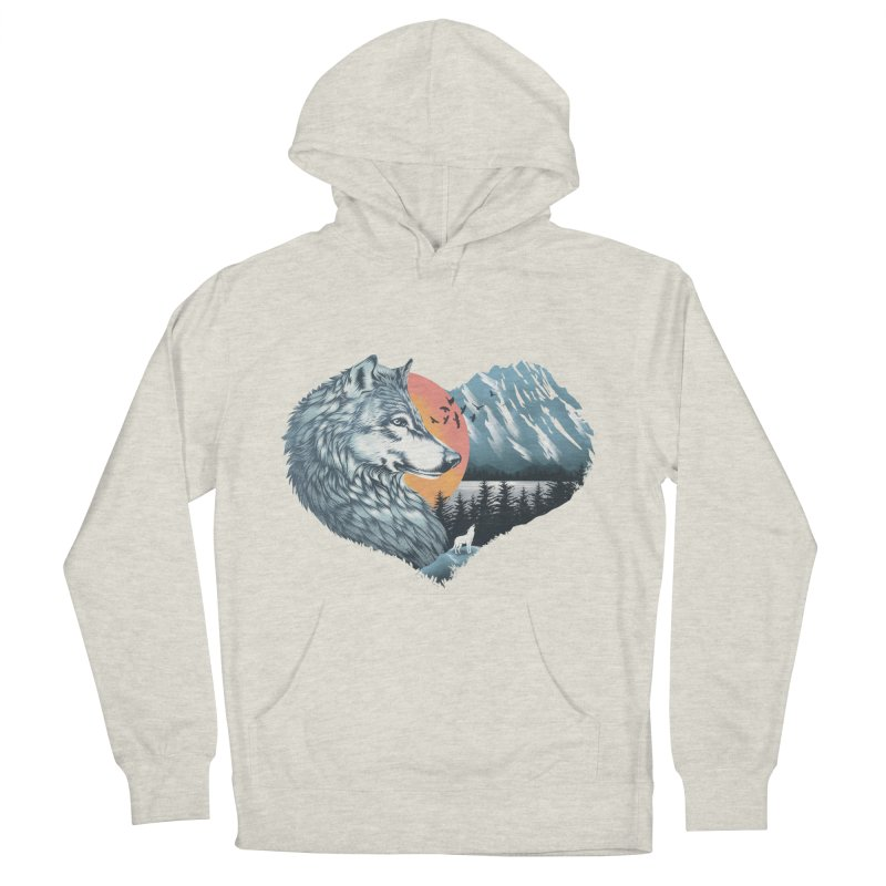 As the wild heart howls Men's French Terry Pullover Hoody by dandingeroz's Artist Shop