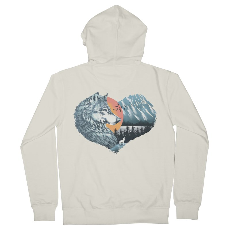 As the wild heart howls Men's French Terry Zip-Up Hoody by dandingeroz's Artist Shop