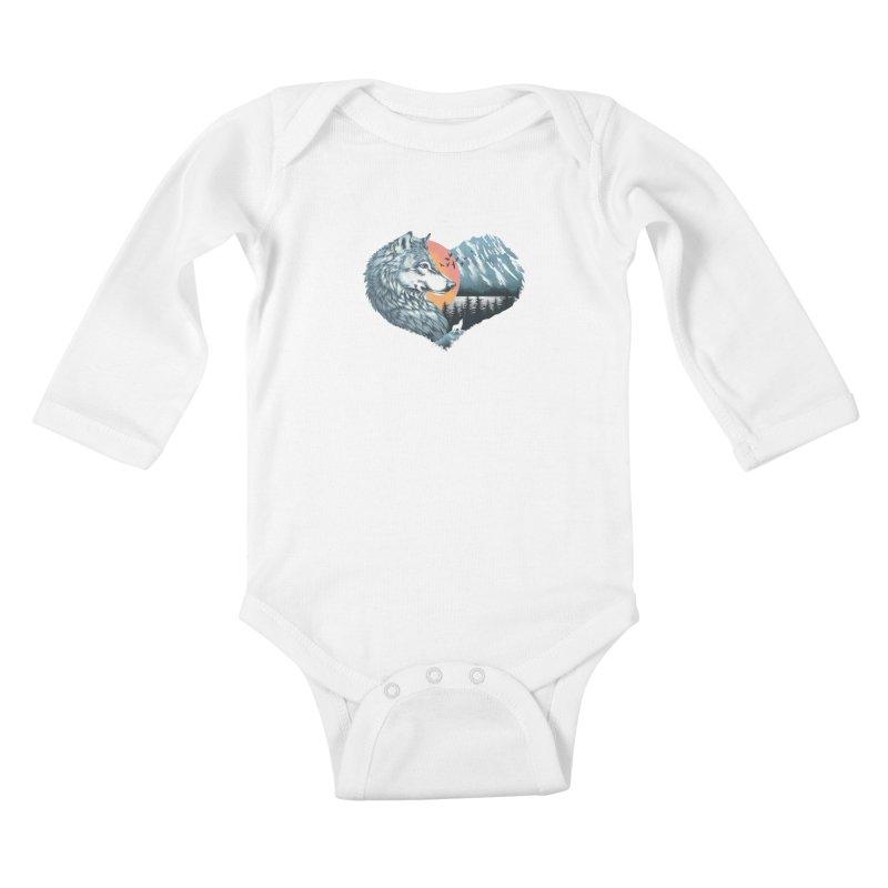 As the wild heart howls Kids Baby Longsleeve Bodysuit by dandingeroz's Artist Shop