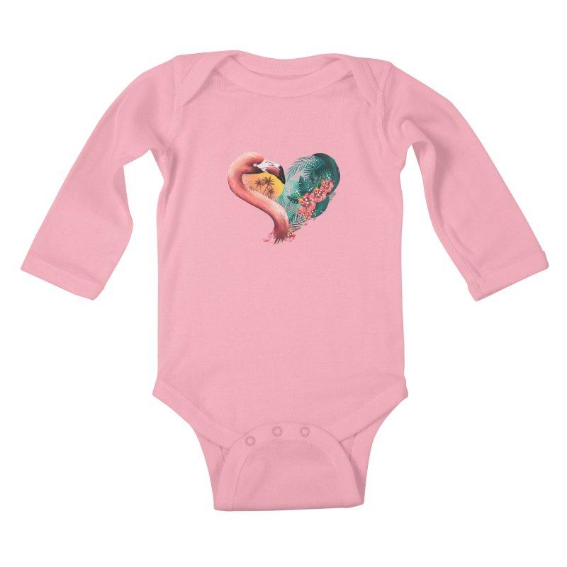 Tropical Love Kids Baby Longsleeve Bodysuit by dandingeroz's Artist Shop