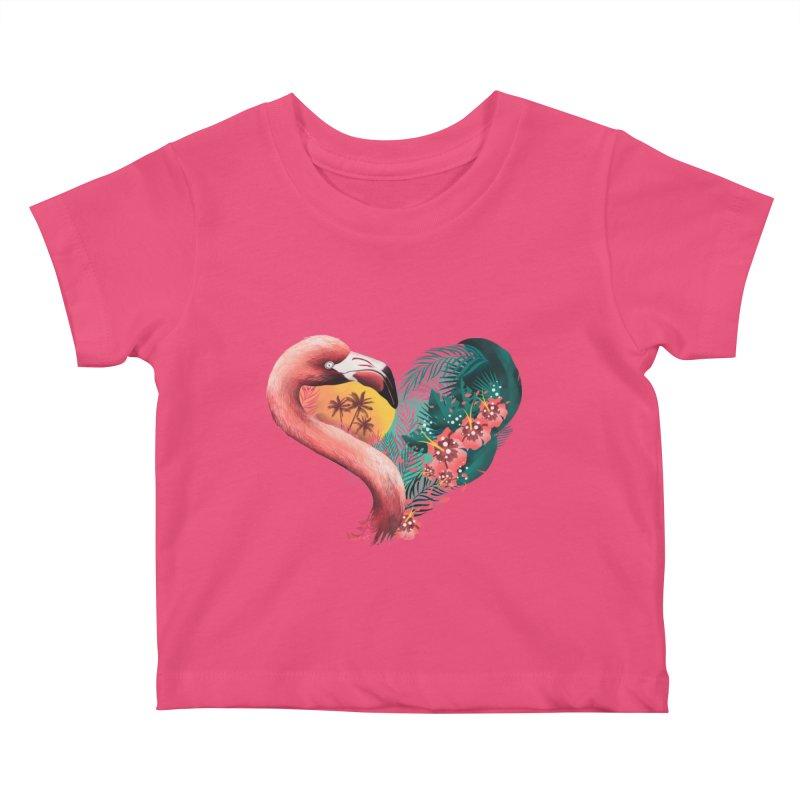 Tropical Love Kids Baby T-Shirt by dandingeroz's Artist Shop