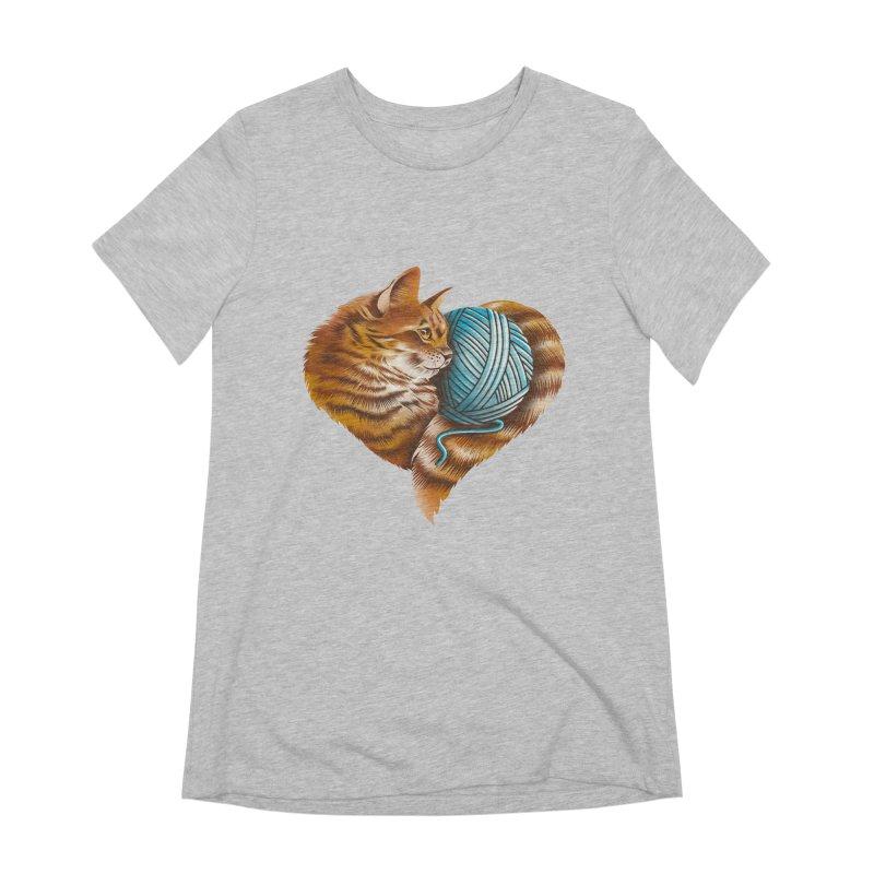 Heart Knitting Kitten Women's Extra Soft T-Shirt by dandingeroz's Artist Shop