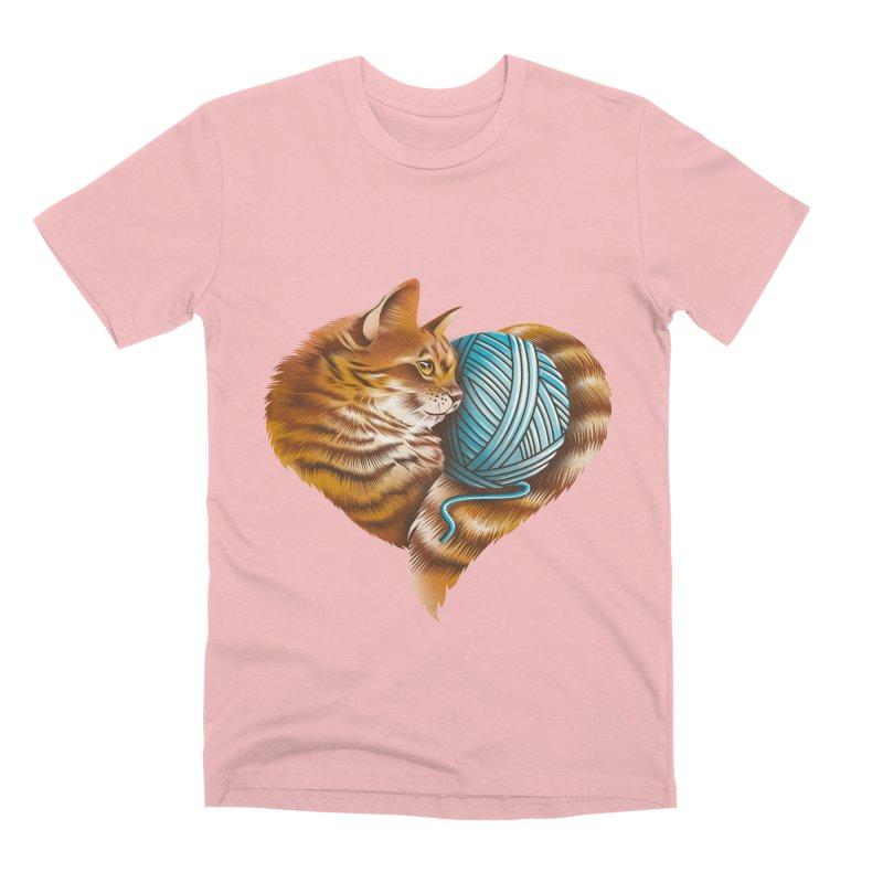 Heart Knitting Kitten Men's Premium T-Shirt by dandingeroz's Artist Shop