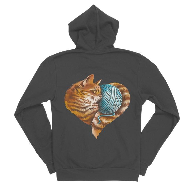 Heart Knitting Kitten Women's Sponge Fleece Zip-Up Hoody by dandingeroz's Artist Shop