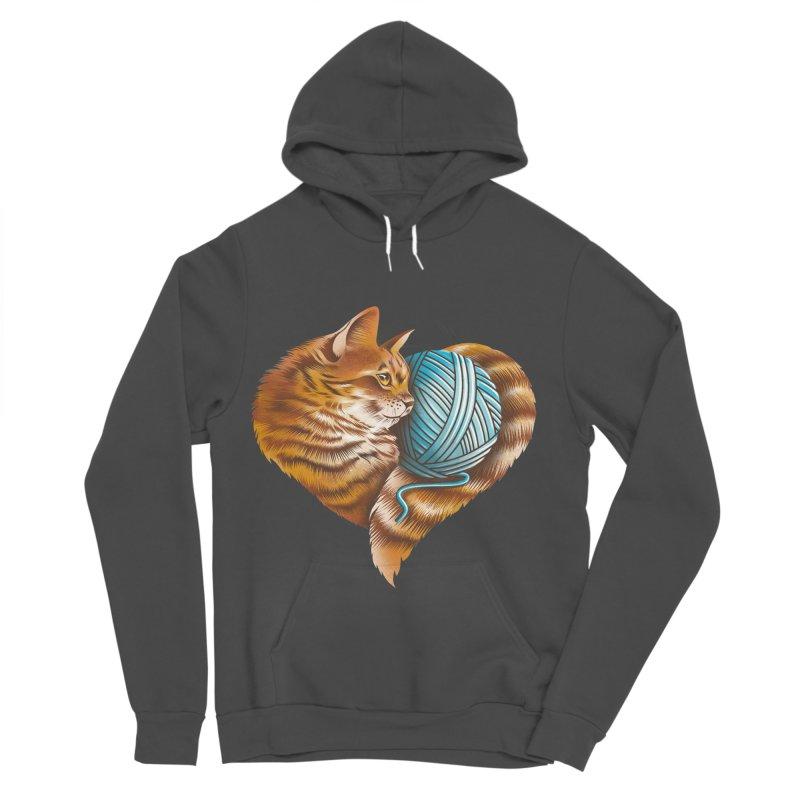 Heart Knitting Kitten Men's Sponge Fleece Pullover Hoody by dandingeroz's Artist Shop