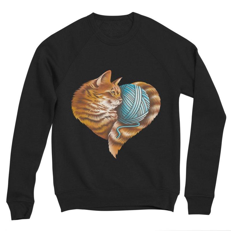 Heart Knitting Kitten Men's Sponge Fleece Sweatshirt by dandingeroz's Artist Shop