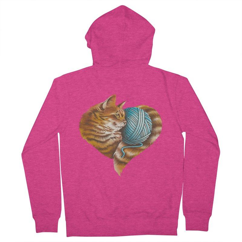 Heart Knitting Kitten Women's French Terry Zip-Up Hoody by dandingeroz's Artist Shop