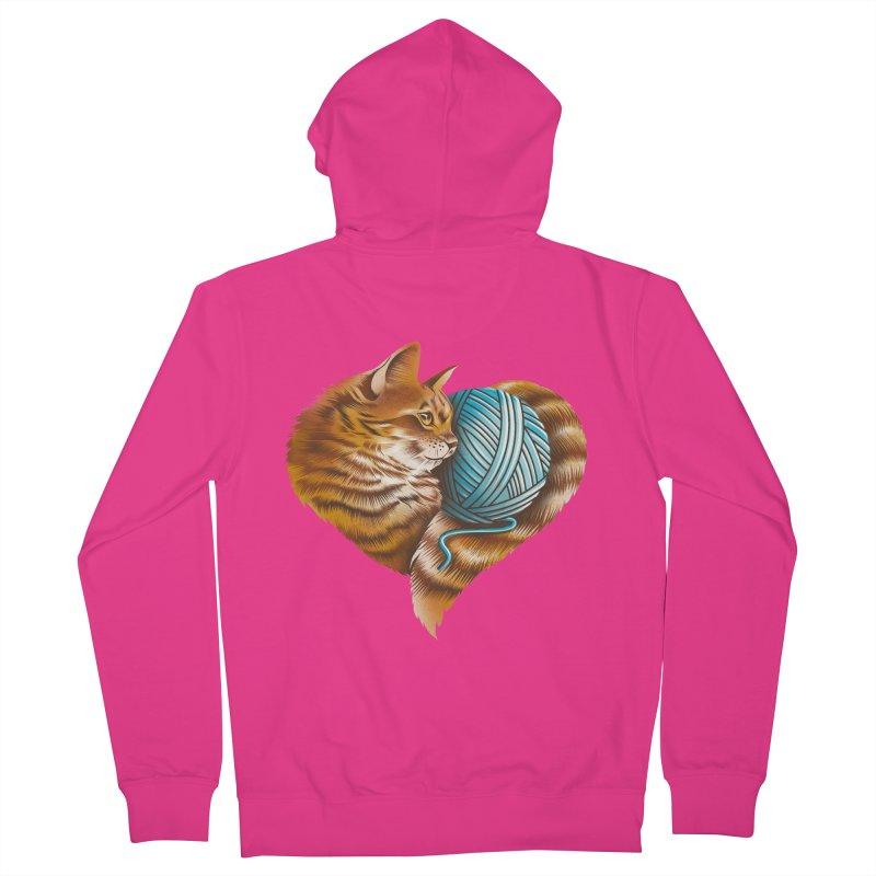 Heart Knitting Kitten Men's French Terry Zip-Up Hoody by dandingeroz's Artist Shop