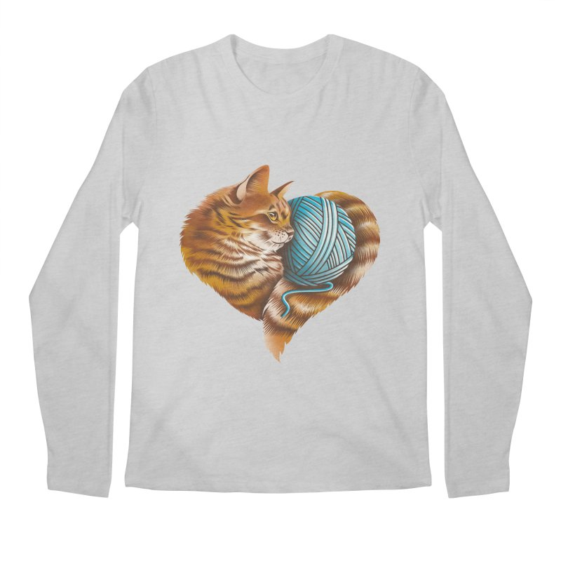Heart Knitting Kitten Men's Regular Longsleeve T-Shirt by dandingeroz's Artist Shop