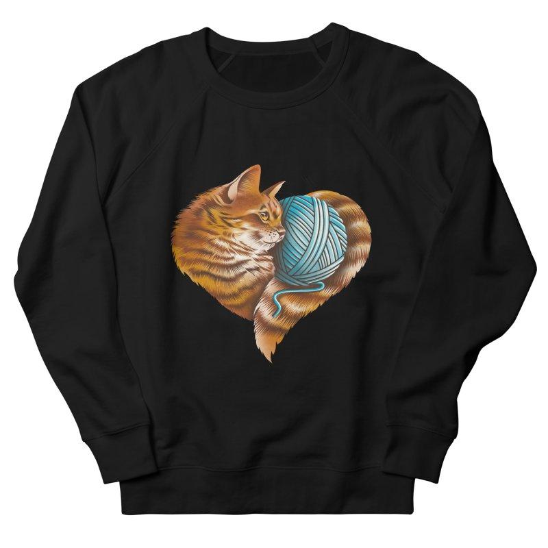 Heart Knitting Kitten Women's French Terry Sweatshirt by dandingeroz's Artist Shop