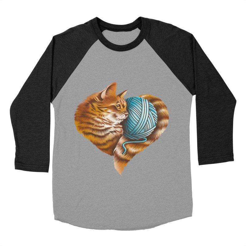 Heart Knitting Kitten Men's Baseball Triblend Longsleeve T-Shirt by dandingeroz's Artist Shop