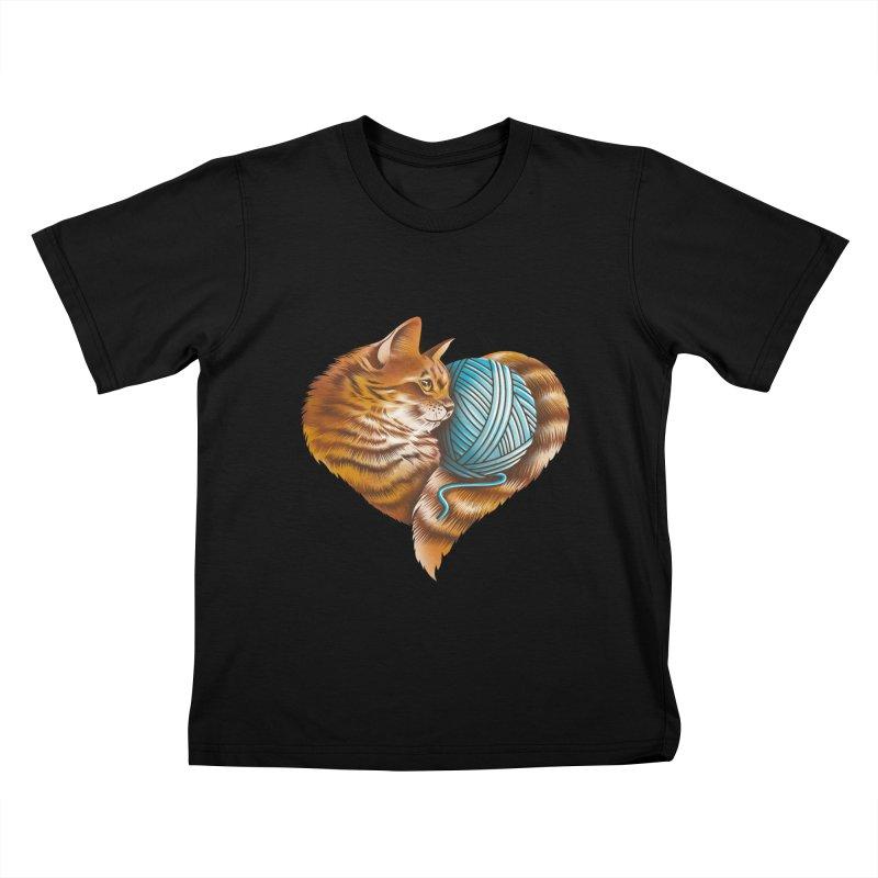Heart Knitting Kitten Kids T-Shirt by dandingeroz's Artist Shop