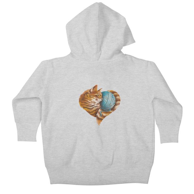Heart Knitting Kitten Kids Baby Zip-Up Hoody by dandingeroz's Artist Shop