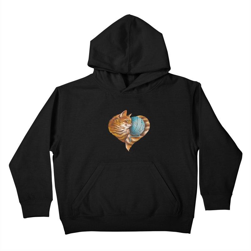 Heart Knitting Kitten Kids Pullover Hoody by dandingeroz's Artist Shop