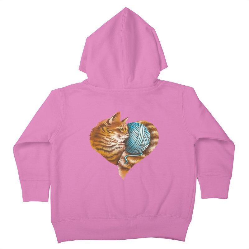 Heart Knitting Kitten Kids Toddler Zip-Up Hoody by dandingeroz's Artist Shop