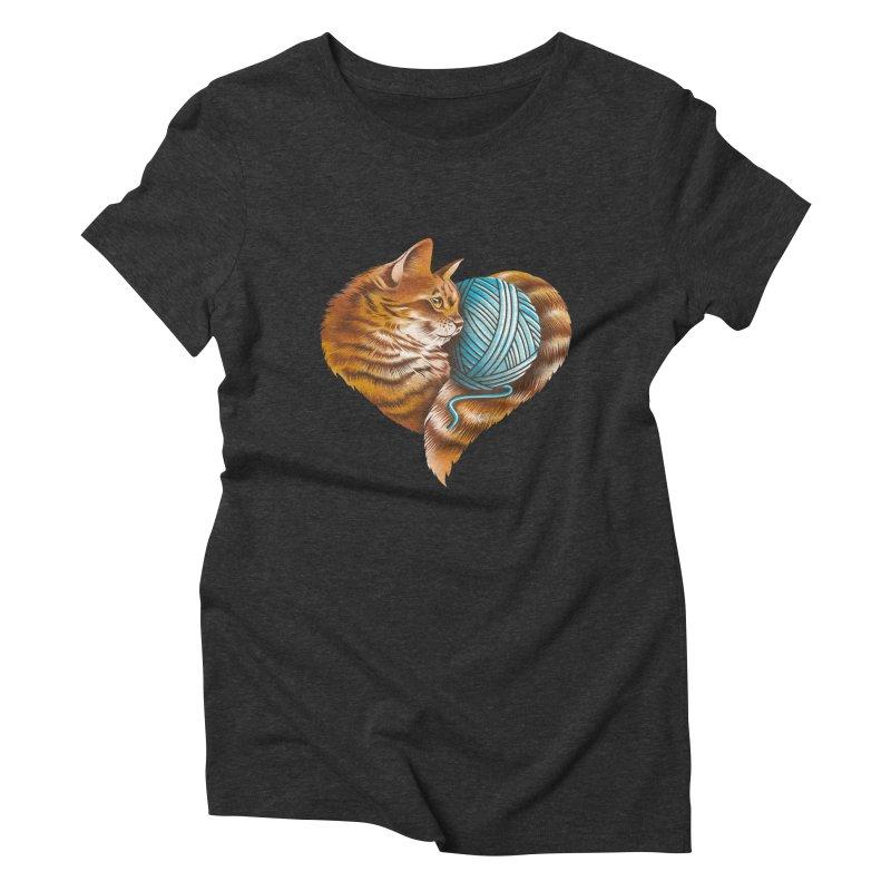 Heart Knitting Kitten Women's Triblend T-Shirt by dandingeroz's Artist Shop