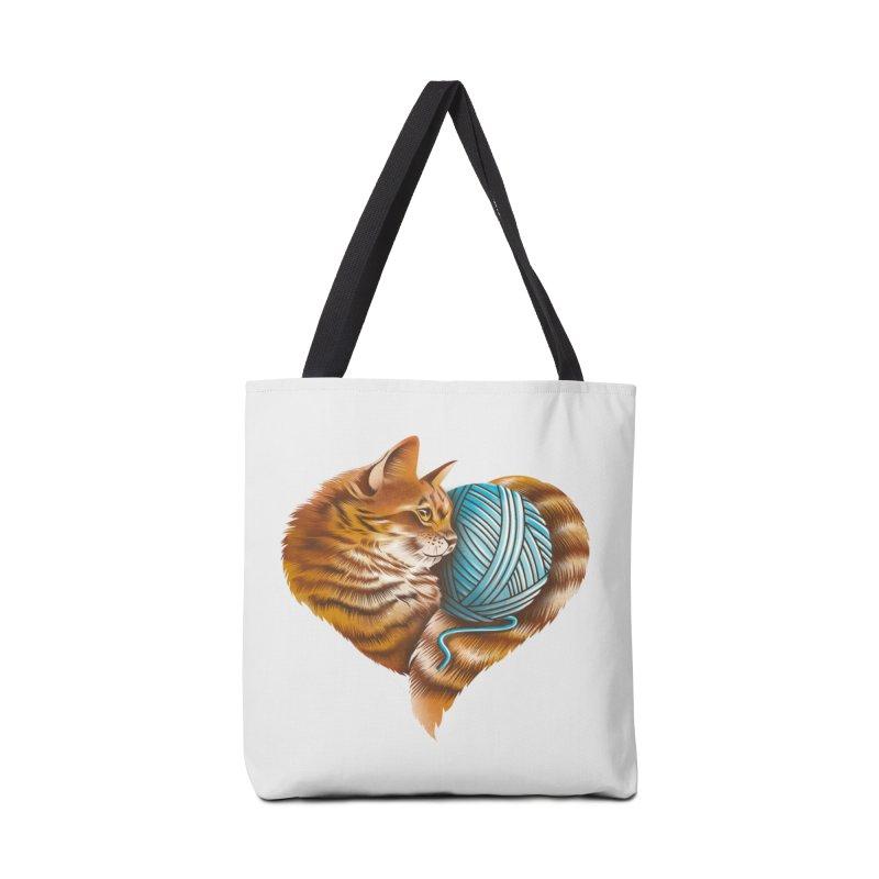 Heart Knitting Kitten Accessories Bag by dandingeroz's Artist Shop