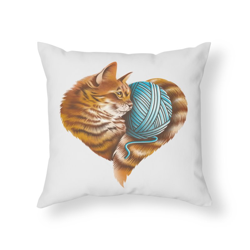 Heart Knitting Kitten Home Throw Pillow by dandingeroz's Artist Shop