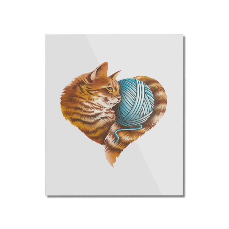 Heart Knitting Kitten Home Mounted Acrylic Print by dandingeroz's Artist Shop