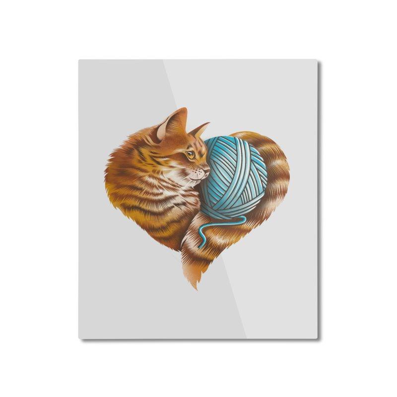 Heart Knitting Kitten Home Mounted Aluminum Print by dandingeroz's Artist Shop
