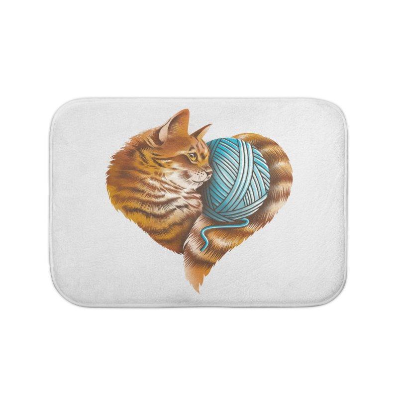 Heart Knitting Kitten Home Bath Mat by dandingeroz's Artist Shop