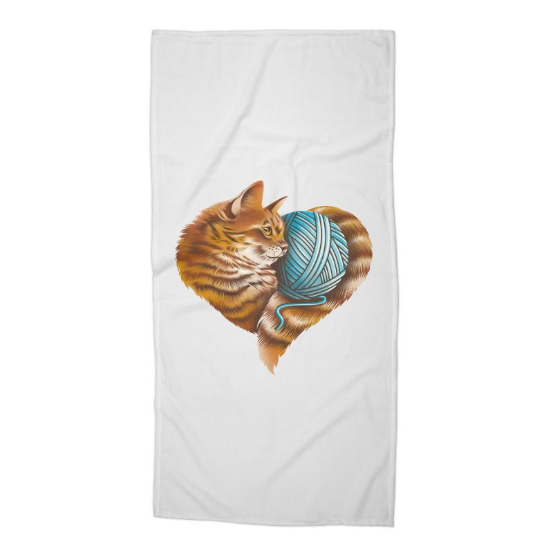 Heart Knitting Kitten Accessories Beach Towel by dandingeroz's Artist Shop