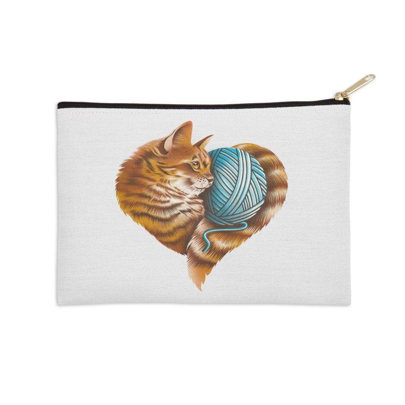 Heart Knitting Kitten Accessories Zip Pouch by dandingeroz's Artist Shop