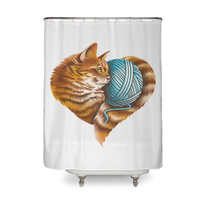Heart Knitting Kitten Home Shower Curtain by dandingeroz's Artist Shop
