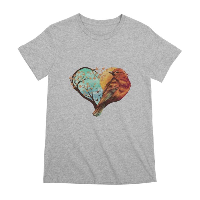 Love Bird Women's Premium T-Shirt by dandingeroz's Artist Shop