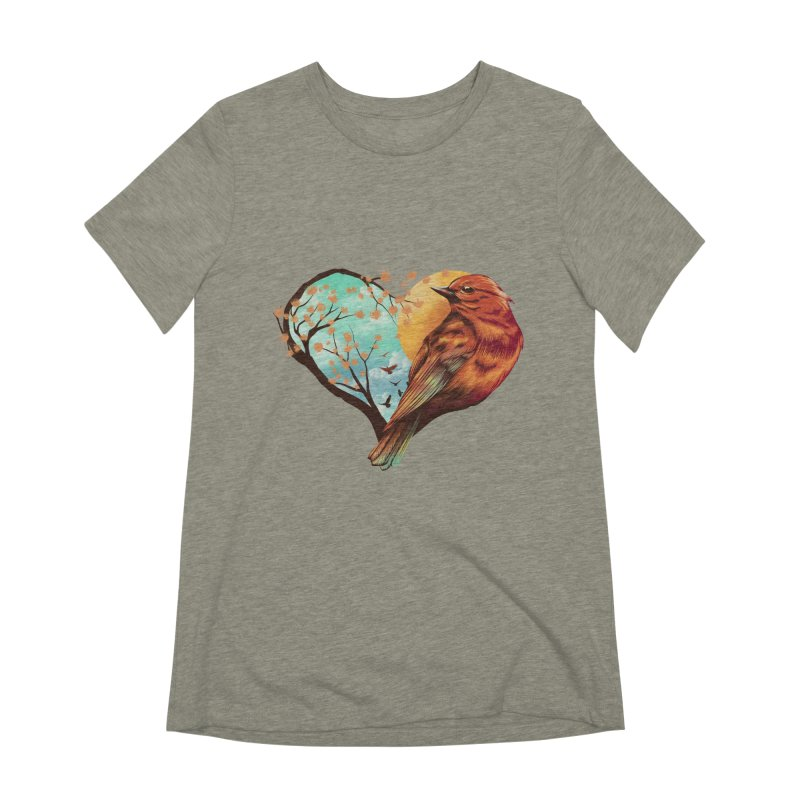 Love Bird Women's Extra Soft T-Shirt by dandingeroz's Artist Shop