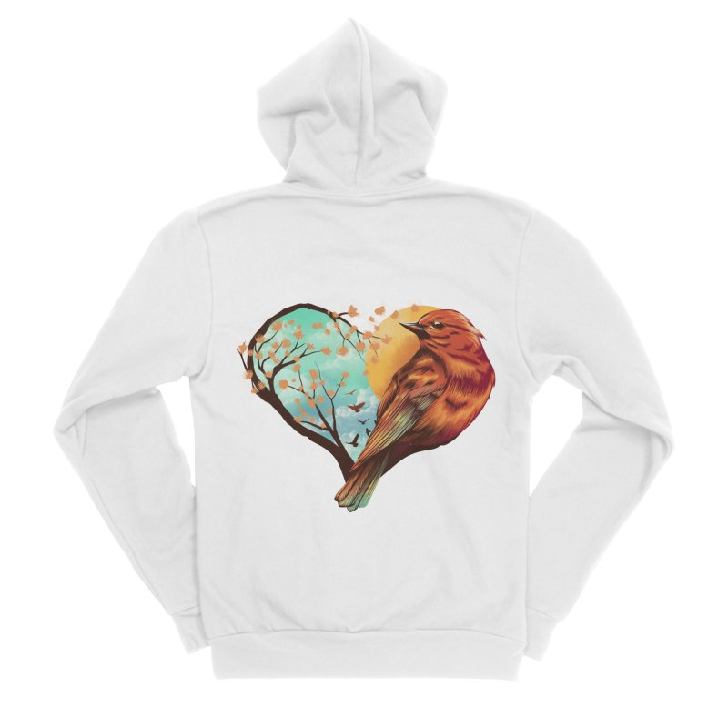 Love Bird Men's Sponge Fleece Zip-Up Hoody by dandingeroz's Artist Shop