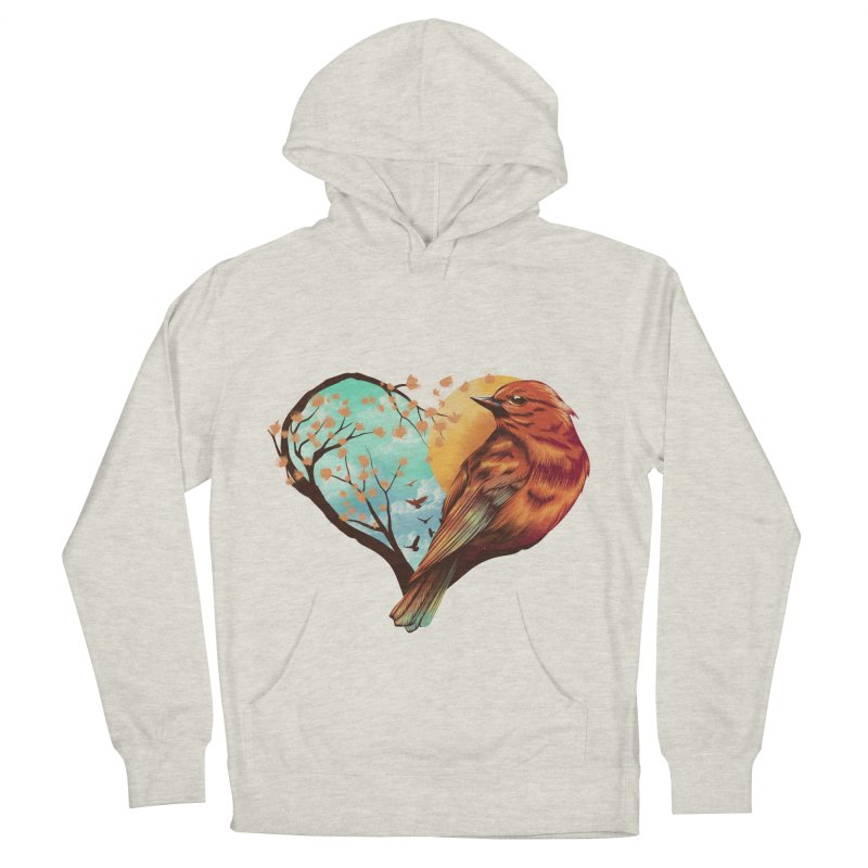 Love Bird Men's French Terry Pullover Hoody by dandingeroz's Artist Shop